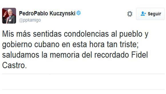 """PPK: """"Saludamos la memoria del recordado Fidel Castro"""""""
