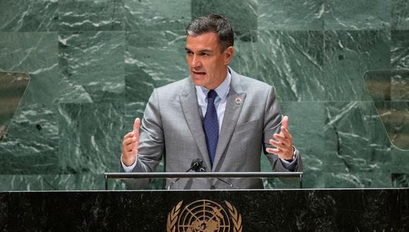 El presidente del gobierno de España, Pedro Sánchez, habla ante la Asamblea General de la ONU el 22 de septiembre de 2021 en Nueva York. (EDUARDO MUNOZ / AFP).