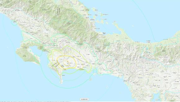 El epicentro del terremoto se ubicó en la frontera entre Panamá y Costa Rica
