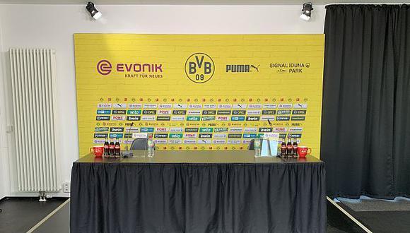 El ambiente de la conferencia de prensa de Borussia Dortmund. (Foto: Borussia Dortmund)