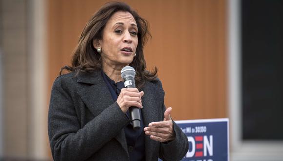 La candidata demócrata a la vicepresidencia de Estados Unidos, la senadora Kamala Harris, habla en el IBEW Local Union 58, el 25 de octubre de 2020 en Detroit, Michigan. (Nic Antaya/Getty Images/AFP).