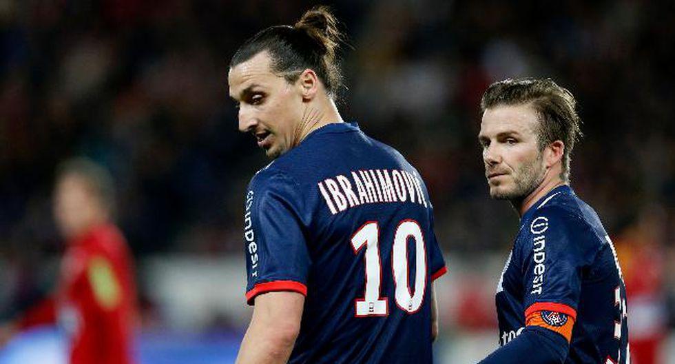 Zlatan Ibrahimovic y David Beckham jugaron junto en el PSG. Ahora el sueco milita en la MLS, donde alcanzó el medio millar de goles. (Foto: AFP)