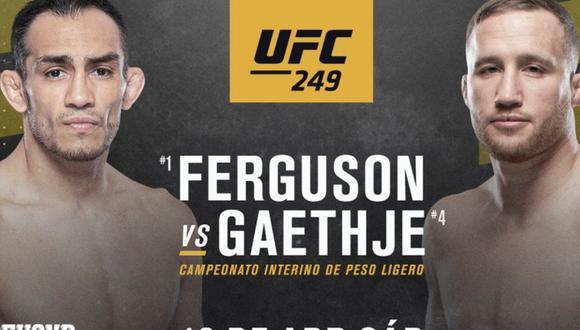 Póster oficial del Tony Ferguson versus Justin Gaethje. (Foto: UFC)