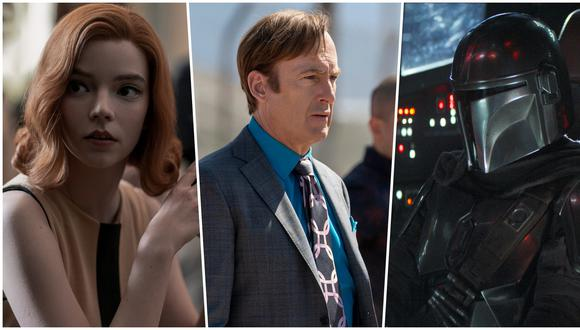 """De izquierda a derecha, escenas de """"Gambito de dama"""", """"Better Call Saul"""" y """"The Mandalorian""""; series que marcaron la pauta en el año 2020. Fotos: Netflix/ AMC/ Disney+."""