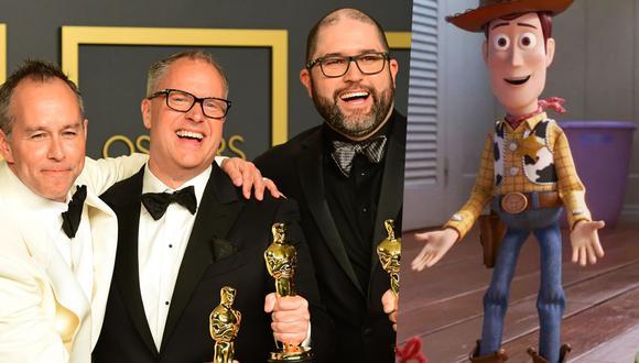 """Oscar 2020. En la foto Jonas Rivera, Mark Nielsen y Josh Cooley recogen el premio por """"Toy Story 4"""". Foto: AFP/ Disney."""