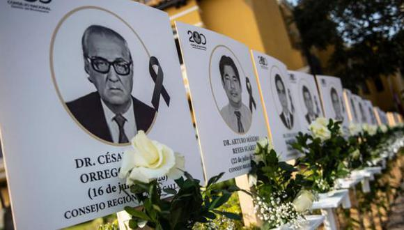 Las imágenes de los 125 médicos que murieron durante la pandemia de coronavirus en el Perú son mostradas afuera del Colegio Médico de Perú. (AFP).