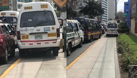 """Tras el reclamo, el chofer del transporte indicó que lo hizo para """"evitar el tráfico"""". (Foto: Twitter/ Christopher Acosta)"""