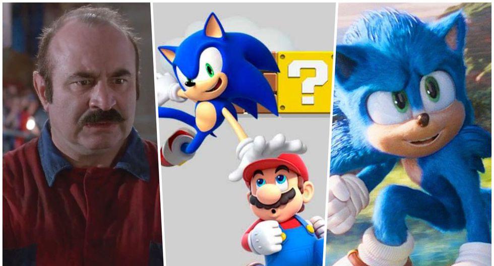 """Izquierda, Bob Hoskins como Mario en la película de """"Super Mario Bros."""" (1993). Derecha, el nuevo diseño del epónimo héroe de la cinta """"Sonic The Hedgehog"""" (2020)."""
