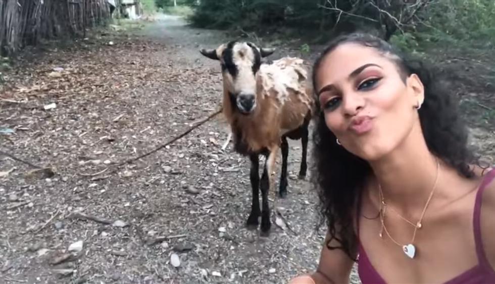 Quiso ganar likes con un selfie junto a una cabra pero terminó protagonizando vergonzosa escena. El video es viral en redes sociales. (YouTube)