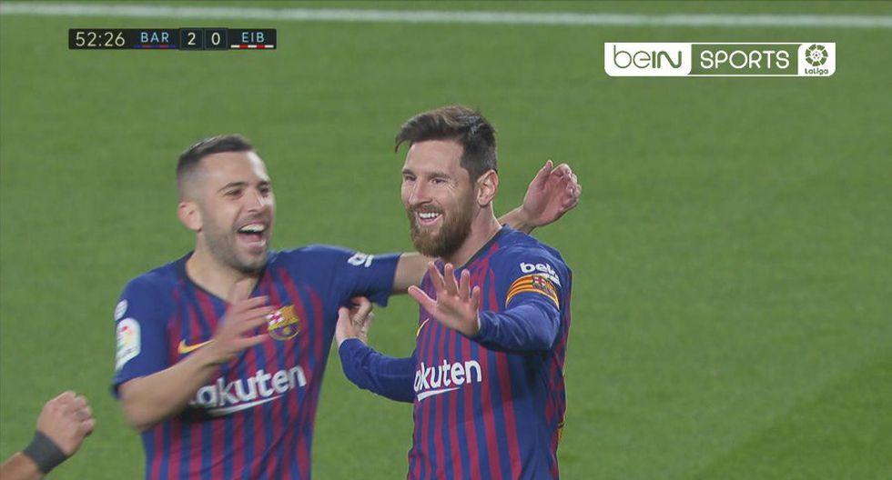 Lionel Messi marcó su conquista número 400 en el Barcelona vs. Eibar. La 'Pulga' quiere dejar en claro que es el mejor futbolista de todos los tiempos. (Foto: captura de pantalla)