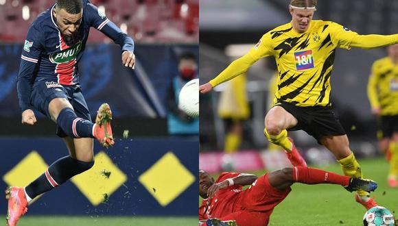 Kylian Mbappé y Erling Haaland son dos de las pocas figuras jóvenes que ha dado el fútbol mundial en los últimos años. (Foto: AFP)