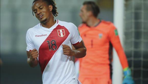 André Carrillo fue el goleador de Perú este 2020 con tres anotaciones. (Foto: AP / Daniel Apuy)