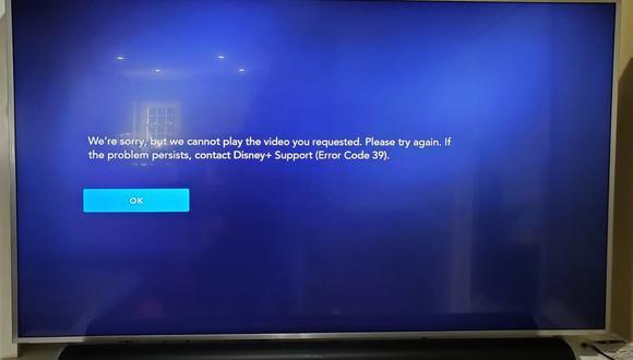 Este es el error 39 que gran parte de usuarios tiene problemas en Disney Plus. (Foto: Alexander Mackendrick / Twitter)
