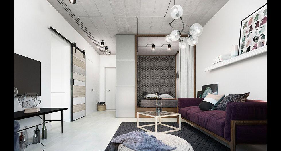 En lugar de techos blancos, una opción fue optar por concreto al natural, que además aporta textura al espacio. Asimismo, las luminarias crean tramas en esta zona y aportan ritmo al ambiente. (Foto: Landushera Nastia Studio)