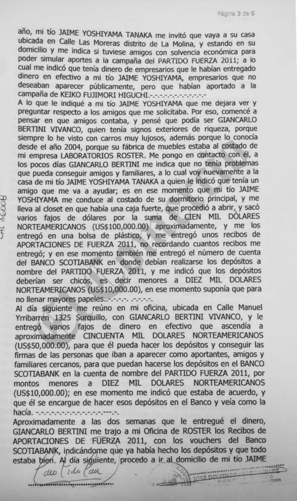 Declaración de Jorge Yoshiyama.