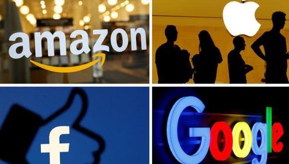 Los logotipos de Amazon, Apple, Facebook y Google en una foto combinada de los archivos de Reuters.