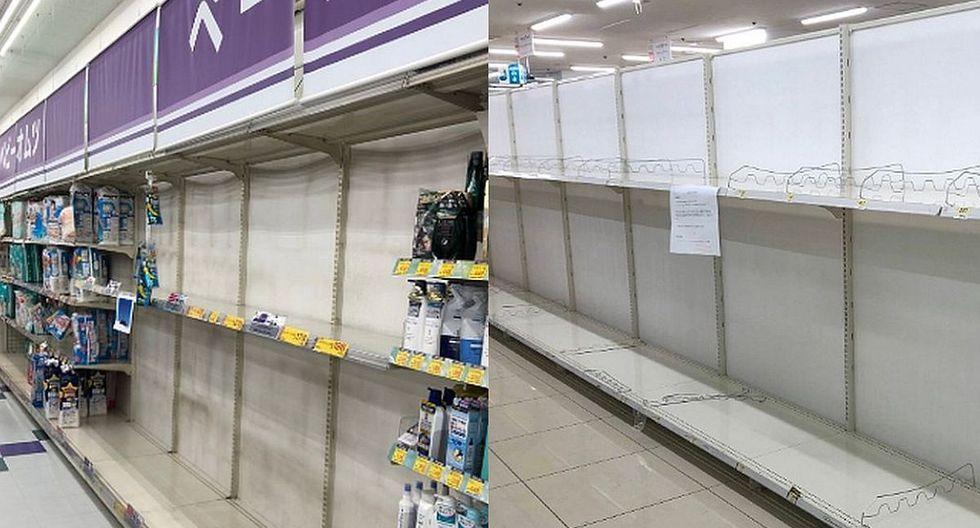Ante el coronavirus, muchos japoneses entraron en pánico y dejaron a los supermercados sin stock de papel higiénico, toallas y otros productos de uso personal. (Foto: Twitter)