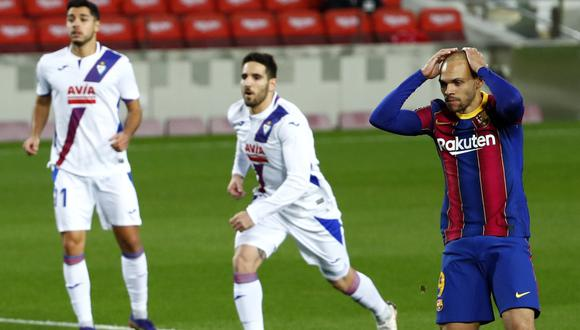 Martin Braithwaite falló un penal ante el Eibar   Foto: AP