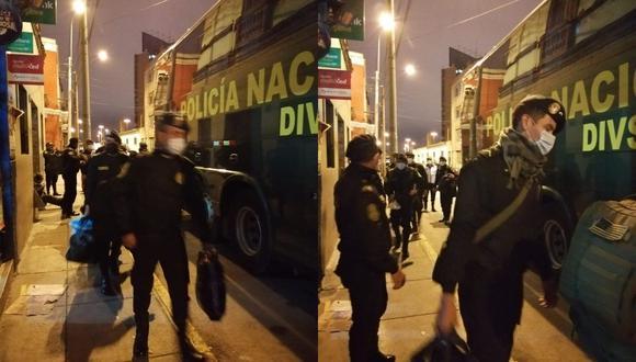 Los policías fueron llevados a la Escuela de Suboficiales de Puente Piedra para cumplir aislamiento (Policía Nacional/Twitter)