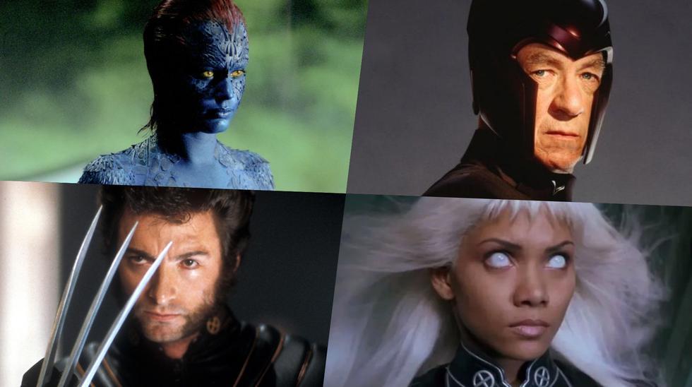 """En sentido horario, Rebecca Romijn (Mystique), Ian McKellen (Magneto), Hugh Jackman (Wolverine) y Halle Berry (Storm) en """"X-Men"""", que cumplió 21 años este 12 de julio del 2021. Fotos: Fox."""