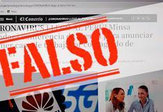 ANTI FAKE | Imagen sobre coronavirus que involucra a El Comercio y Huawei es falsa