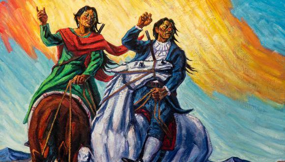 Representación de Túpac Amaru y Micaela Bastidas realizada por el artista Bruno Portuguez. (Foto: cortesía del autor)