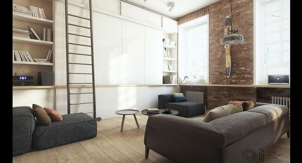 Escenario ecléctico. Para darle un toque moderno a estilo industrial, se apostó por incluir un mueble de almacenaje hecho de líneas simples y tonos claros, como el blanco.  Este mueble también sirve como pantalla, ya que se acompaña por un proyector.