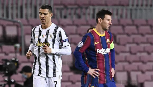Cristiano Ronaldo y Lionel Messi se midieron en el Camp Nou en la presente temporada de Champions League (Foto: AFP)