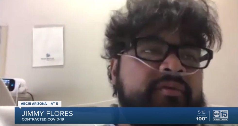 Coronavirus USA | Jimmy Flores | El hispano de 30 años que contrajo Covid-19 en un bar de EE.UU. y terminó hospitalizado con un tubo para respirar | Arizona. Foto: Captura de video ABC