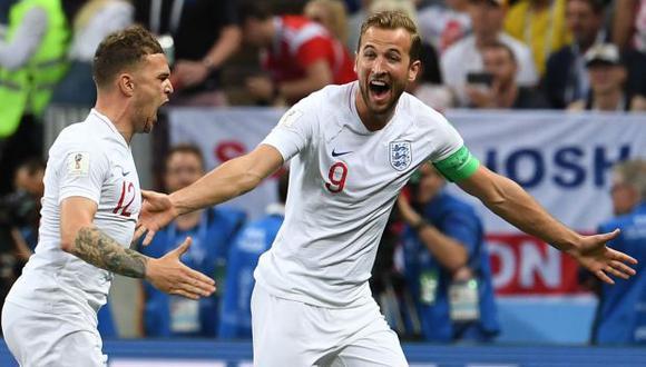 Trippier y Kane celebrando el único gol de Inglaterra ante Croacia. (Foto: AFP)