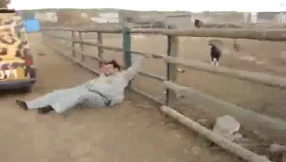 Este video viral de YouTube nos muestra el tremendo momento en el que un muchacho recibe el 'karma' por fastidiar a un carnero en una granja. | Yt