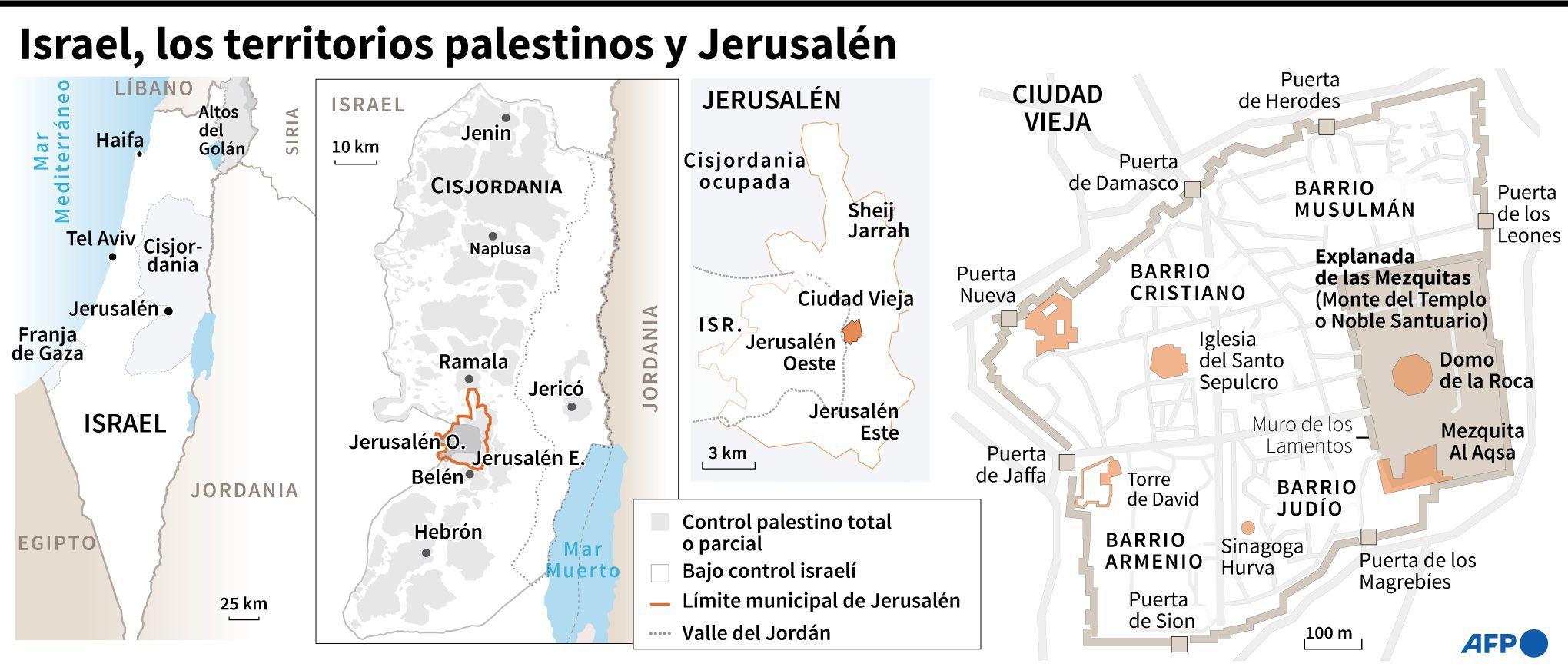Israel, los territorios palestinos y Jerusalén. (AFP).