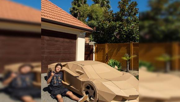 El joven creó un Lamborghini de cartón y consiguió miles de dólares tras subastarlo. | Video/Foto: David Jones