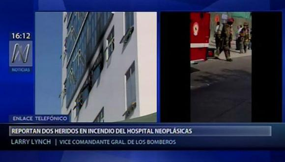 Incendio en Hospital Neoplásicas. (Foto: Captura Canal N)