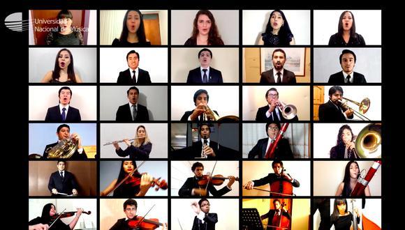 La Orquesta Sinfónica de la Universidad Nacional de Música interpreta una versión del himno grabada en casa.