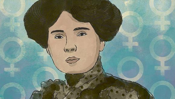 "Leonor Espinoza de Menéndez, autora de ""Zarella. Novela feminista"" (Ilustración: Víctor Aguilar)"
