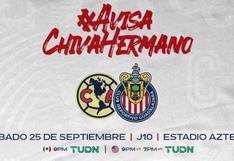 Alineación de América y Chivas hoy por el Clásico Nacional del Apertura 2021