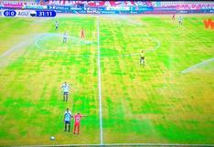 Con Aldair Rodríguez: sistema de regadío se abre en pleno partido y moja a los jugadores