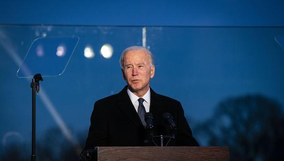 Joe Biden, el presidente electo, hoy, durante un discurso en el Lincoln Memorial Reflecting Pool. FOTO: Al Drago/Bloomberg