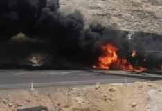 Arequipa: chofer y copiloto mueren al volcar e incendiarse camión cisterna | VIDEO