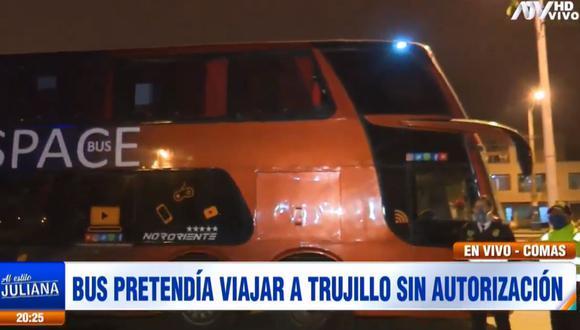 El bus interprovincial fue intervenido en San Martín de Porres por la Policía. (ATV)