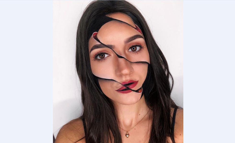 Maquillaje con ilusión óptica.
