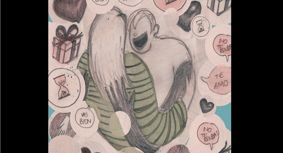 'Mi amor, el guachimán', la columna de Luciana Olivares. (Ilustración: Nadia Santos)