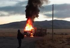 Cusco: queman camiones en Espinar durante protesta contra la empresa minera Antapaccay