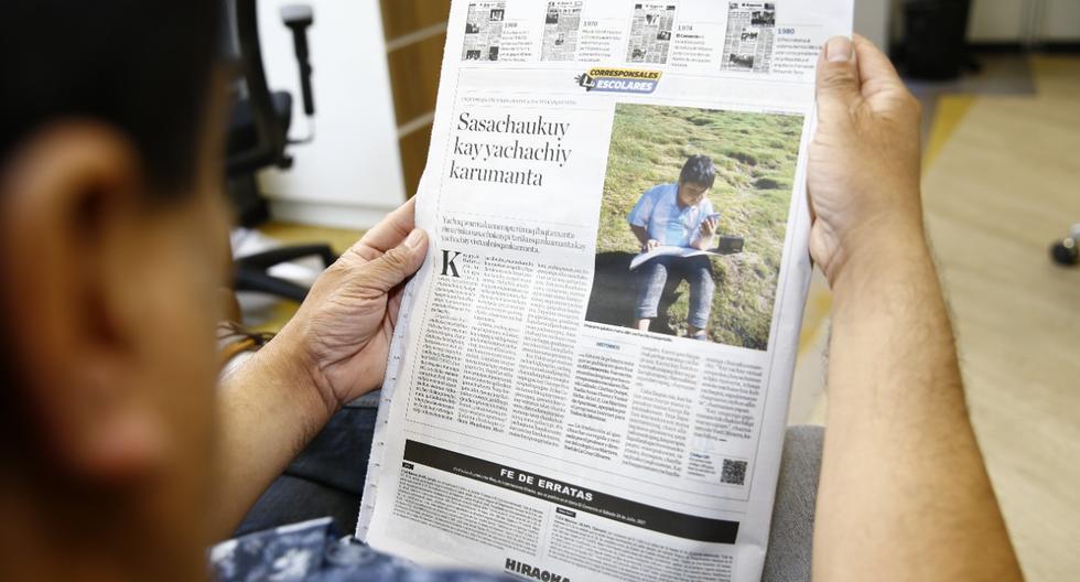 Este informe aborda la crisis educativa que sufren los habitantes de Apurímac, por la falta de conectividad. Salió publicado en quechua hoy en las ediciones impresa y web de El Comercio (Foto: Allen Quintana)
