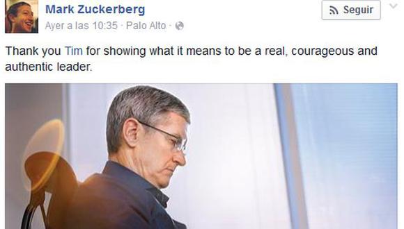 Mark Zuckerberg y otros CEO felicitan a Tim Cook tras anuncio