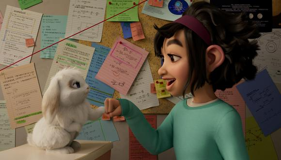 """En la imagen, Fei Fei y el conejo Bungee, antes de empezar el viaje de """"Más allá de la luna"""". Foto: Netflix."""