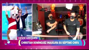 Christian Domínguez se emociona al inaugurar chifa en Arequipa