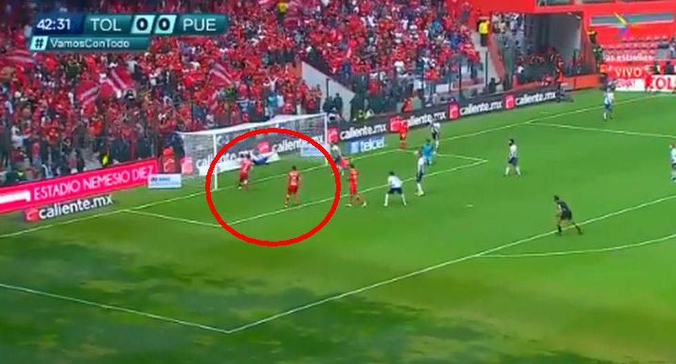 Santiago García puso el 1-0 para Toluca ante Puebla por la segunda fecha del Clausura 2019 de la Liga MX. (Foto: Captura).
