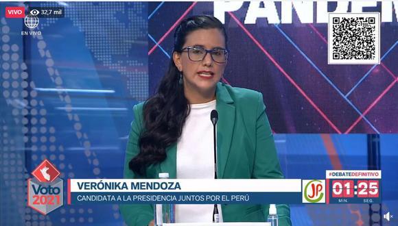 Verónika Mendoza, candidata de Juntos por el Perú. (Captura: América TV)